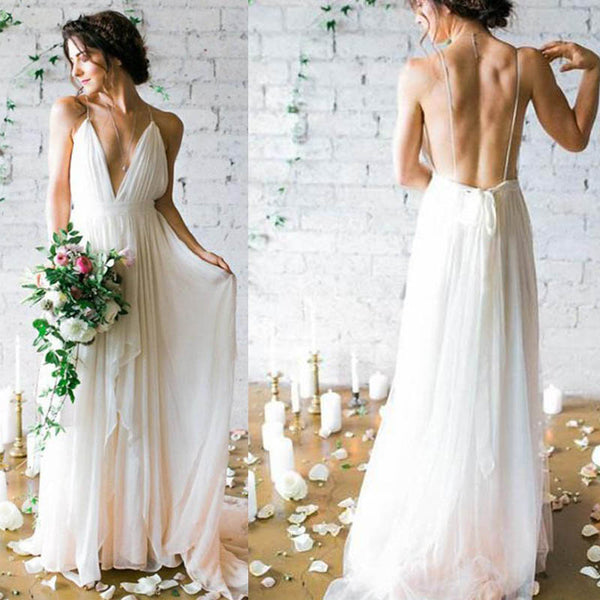 Simple Spaghetti Straps Long A-Line Chiffon Wedding Dresses, Cheap Beach Wedding Dresses, VB02255