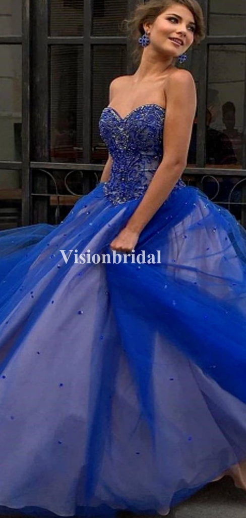 Alluring Beading Sweetheart Navy Blue Ball Gown Prom Dresses, VB03483