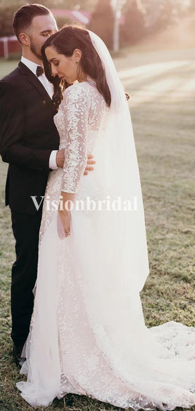 Alluring Illusion Long Sleeve Lace Sheath Wedding Dresses With Trailing, VB02786