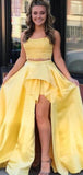 Charming Yellow Two Pieces Lace Top Side Slit Prom Dresses, VB03555
