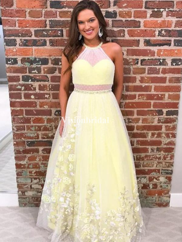 Charming Baby Yellow Illusion A-Line Prom Dresses, VB03238