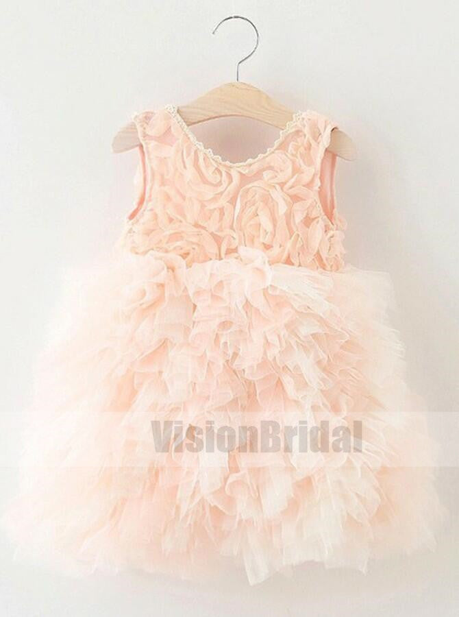 Pearl Pink A-Line Crew Knee-Length Tulle Flower Girl Dress with Ruffles, Flower Girl Dresses, VB0753