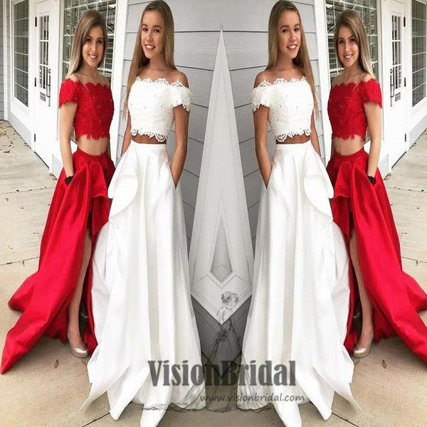 Off The Shoulder Lace Top With Beaded Sexy Two Pieces Side Slit Long Prom Dress, Prom Dresses, VB0425 - Visionbridal