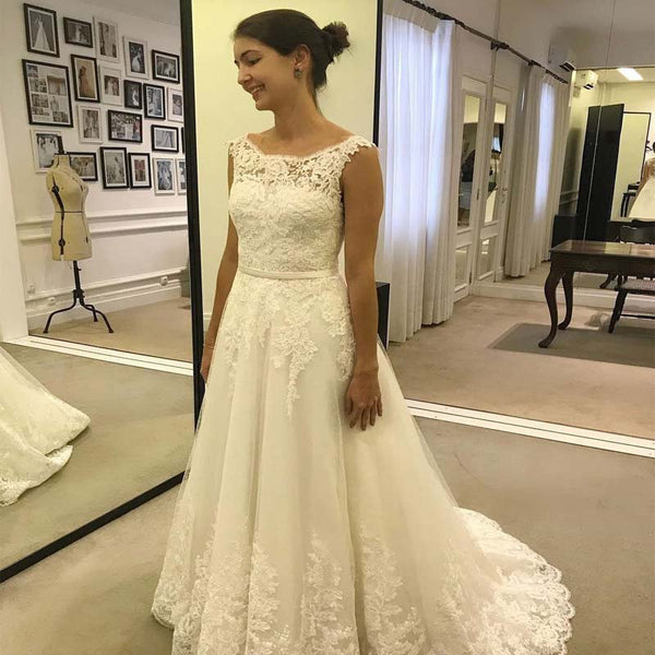 8e82f72aa4 Alluring Square Neckline Cap Sleeve Long A-Line Tulle Wedding Dresses With  Lace Appliques