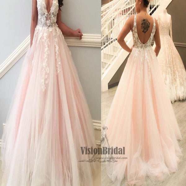 Chic Eye-Catcher Baby Pink V-Neck Sleeveless Open Back Tulle A-Line Prom Dress With White Appliques, Charming Prom Dress, Party Dress, VB0560 - Visionbridal