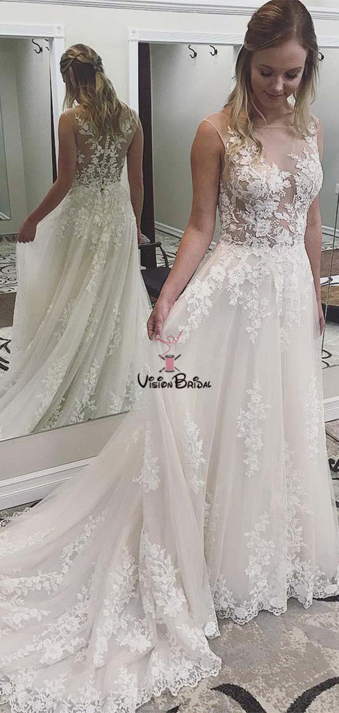 Alluring Scoop Neckline Covered Button Long Wedding Dresses With Lace Appliques, Wedding Dresses With Trailing, VB01721