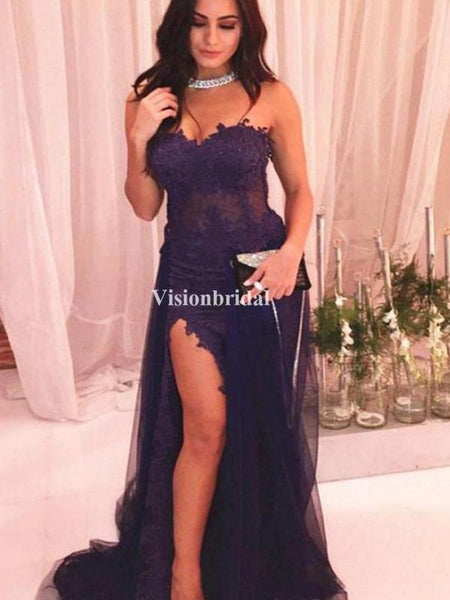 Alluring Purple Sweetheart Mermaid Side Slit Prom Dresses With Lace, VB03322