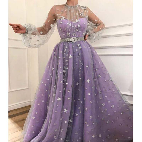 4c52a9d3e226 Unique High Neck Long Sleeves Shiny A-Line Prom Dresses With Band, Prom  Dresses
