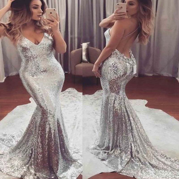 Spaghetti Straps V-Neck Cross Back Mermaid Prom Dress, Sexy Sequin With Trailing Prom Dress, Prom Dresses, VB0250 - Visionbridal