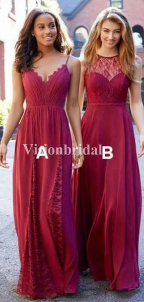 Alluring Burgundy Mismatched Long A-Line With Lace Bridesmaid Dresses, VB03737
