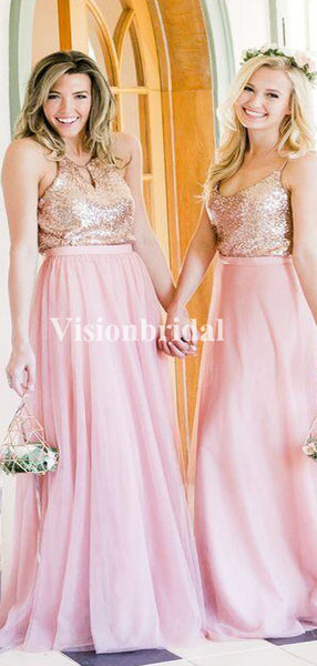 Shiny Top Sequin Pink Mismatched Bridesmaid Dresses, VB02938