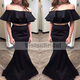 Unique Black Two Pieces With Ruffles Mermaid Floor-Length Prom Dress, Prom Dresses, VB0109