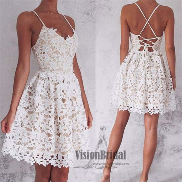 Cute White Spaghetti Straps Lace Homecoming Dress, Sexy Cross Back Homecoming Dress, VB0671