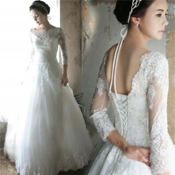 Beautiful Long Sleeves Lace up back Affordable Cheap Free Custom Wedding Dresses, Wedding Dress, VB0700