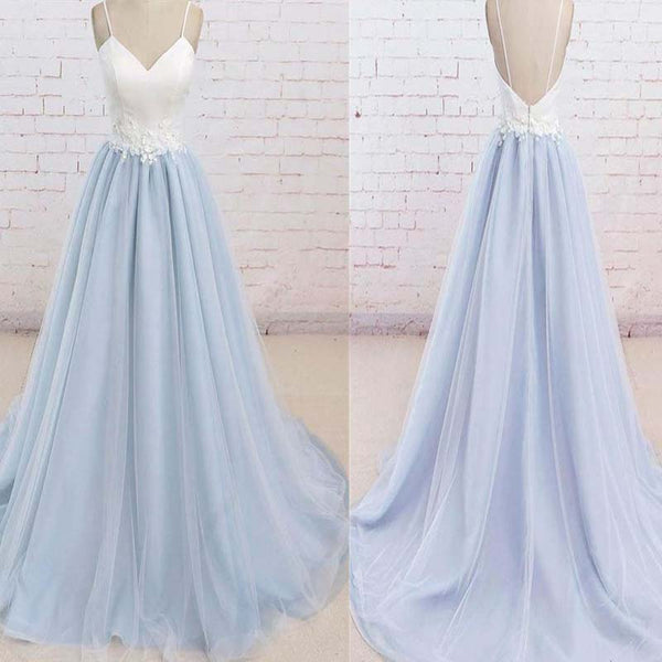 Light Blue Spaghetti Straps White Top Prom Dress With Appliques, Open Back Floor Length Prom Dress, Prom Dresses, VB0265 - Visionbridal