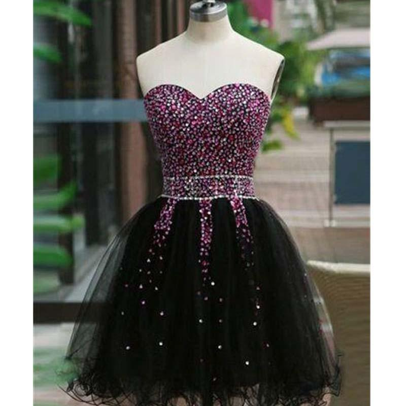 Gorgeous Sweetheart Black Short Homecoming Dresses With Beaded, Shinny Tulle Homecoming Dresses, VB01124