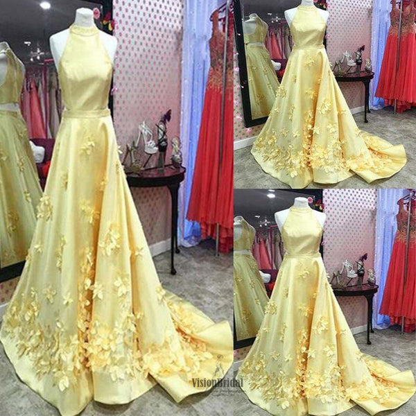 2018 Stunning Yellow Halter Two Pieces 3D Flower Appliques A-Line Floor Length Prom Dress, Beautiful Prom Dress, VB0470 - Visionbridal
