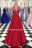 Halter Deep V-Neck Open Back Embroidery Satin A-Line Prom Dress, Floor Length Prom Dress, Prom Dress, VB0213