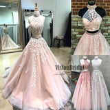 Charming Beading Halter Two Pieces Appliques A-Line Long Prom Dress, Beautiful Prom Dress, VB0488 - Visionbridal