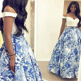 Alluring Two Piece Off The Shoulder Floral Satin A-Line Long Prom Dress, VB0727