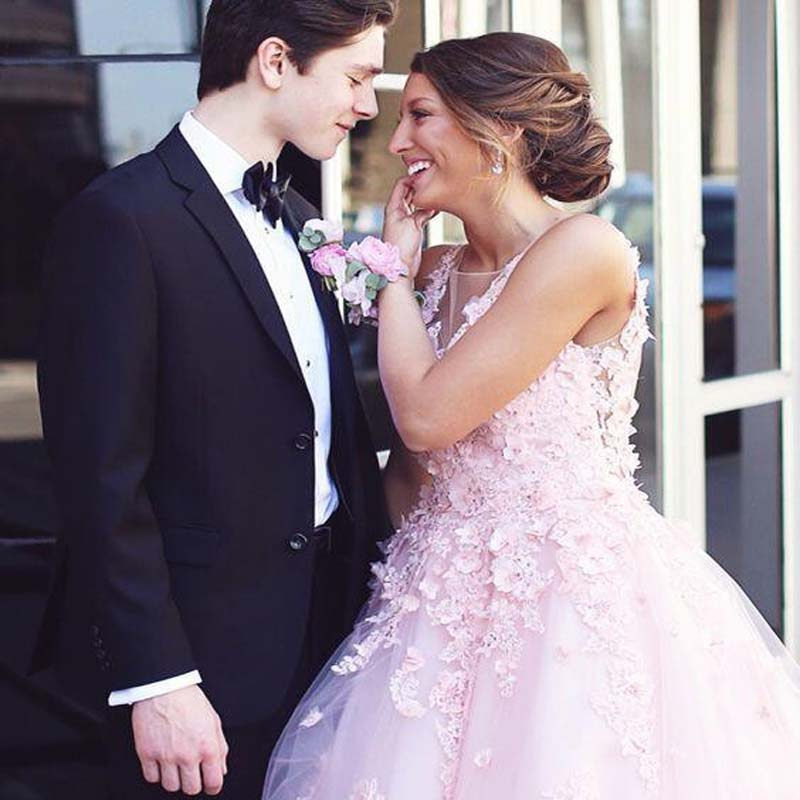 Pink V-Neck Open Back Long A-Line Tulle Prom Dresses With Appliques, Prom Dresses, VB01684