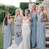 Alluring One Shoulder Pleated Sheath Side Slit Bridesmaid Dresses, VB03710