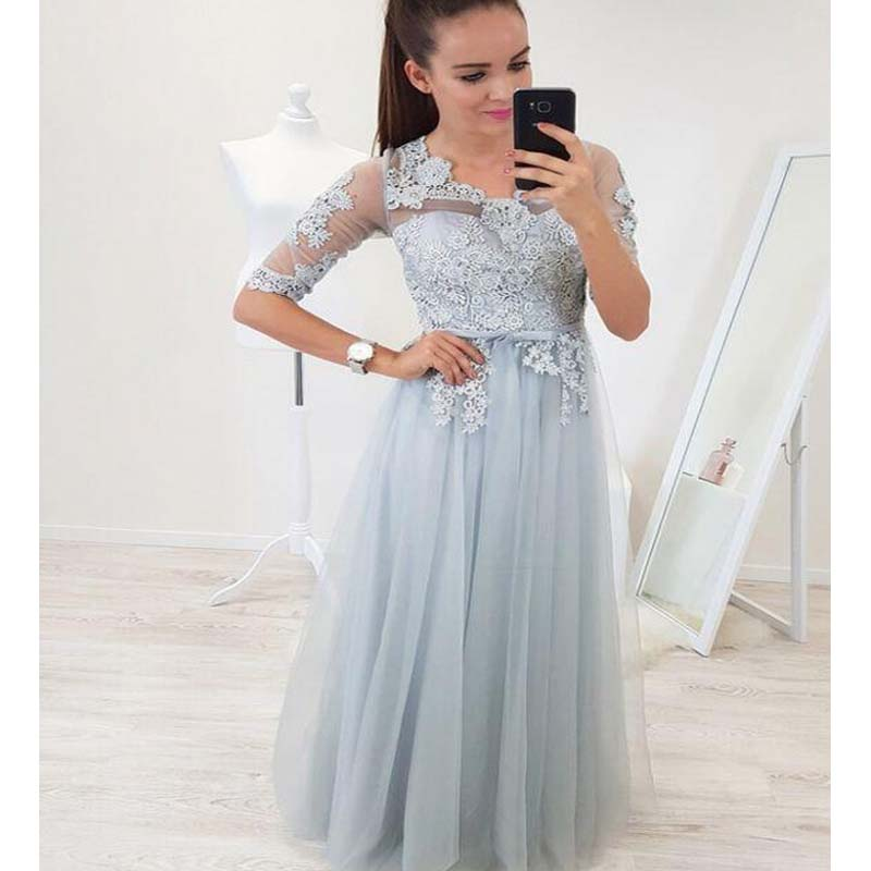 Scoop Neckline Half Sleeve With Lace A-Line Tulle Prom Dresses, VB01534