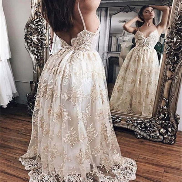 Champagne Lace With White Lining Wedding Dresses, Sexy Spaghetti Straps Wedding Dresses, VB01010