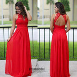 Charming Red Lace Halter Open Back A-Line Floor Length Chiffon Bridesmaid Dress, Bridesmaid Dresses, VB0478 - Visionbridal