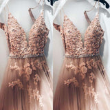 Alluring Spaghetti Straps Long A-Line Tulle Prom Dresses With Lace Appliques, Beaded Prom Dresses, VB01977