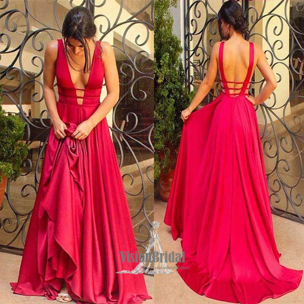 Charming Rose Red Deep V-Neck Open Back A-Line Long Prom Dress With Ruffles, Prom Dress, VB0565