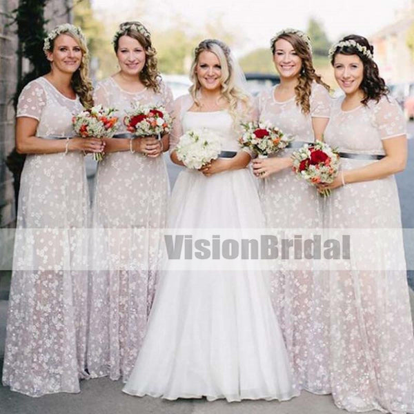 2018 Customized A-line Short Sleeves Round Neck Floor-Length Bridesmaid Dresses With Sash, Unique Bridesmaid Dresses, VB0897