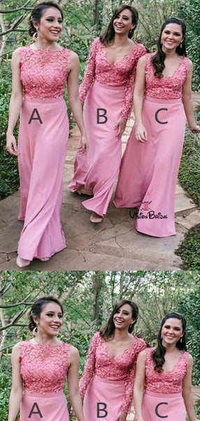 Peachy Scoop Neckline Appliques Top Different Styles Long Bridesmaid Dresses, Bridesmaid Dresses, VB01958