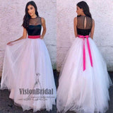 Attractive Illusion See Through A-Line Long Tulle Prom Dress With Band, Prom Dress, VB0623