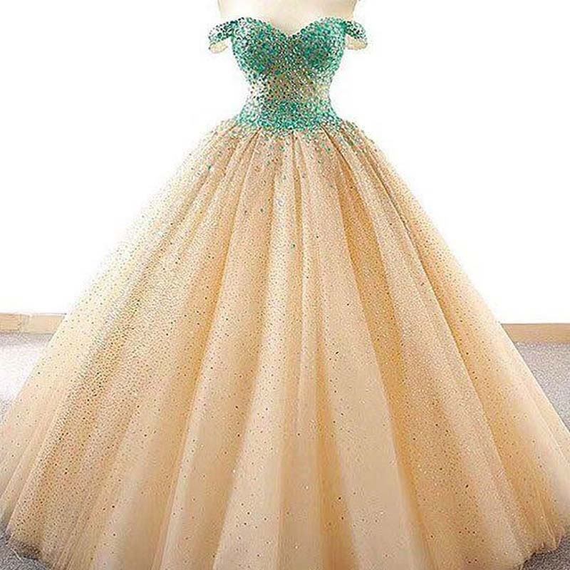 Alluring Off Shoulder Beading Ball Gown Tulle Prom Dresses, Prom Dresses, VB01572