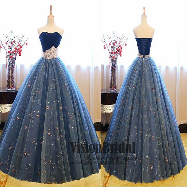 2018 Newest Sweetheart Lace Up Ball Gown With Pearl, Charming Sleeveless Prom Dress, VB0400 - Visionbridal