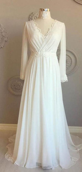 Simple V-Neck Long Sleeve Long A-Line Chiffon Wedding Dresses With Lace, Wedding Dresses, VB02301