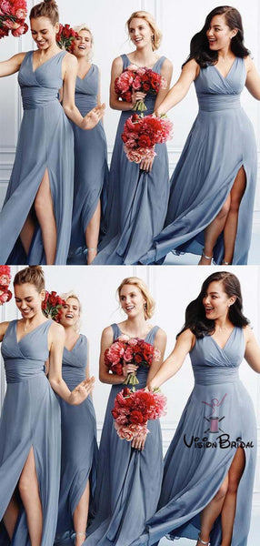 Charming Dusty Blue V-Neck With Pleated Long Side Slit Chiffon Bridesmaid Dresses, Bridesmaid Dresses, VB01941