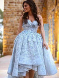 Charming Blue Sweetheart High Low With Appliques Prom Dresses, VB03559
