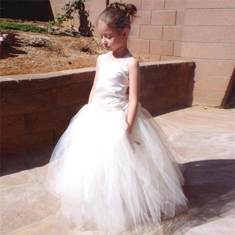 Unique Halter Crisscross Back Long A-Line Tulle Flower Girl Dresses, Simple Flower Girl Dresses, VB01241