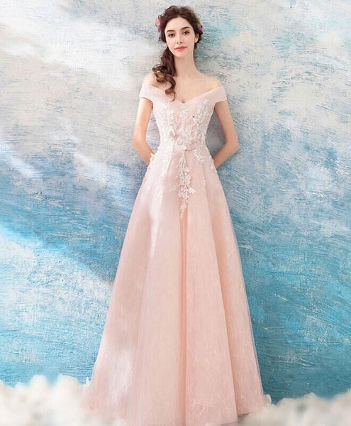 Light Blue Off The Shoulder Flower Applique And Embroidery Lace Up A-Line Long Prom Dress, Prom Dresses, VB0344 - Visionbridal