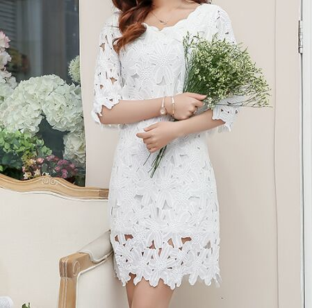 Sweet White Lace Half Sleeves Prom Dress, Beautiful Lace Prom Dress, Prom Dresses, VB0235 - Visionbridal