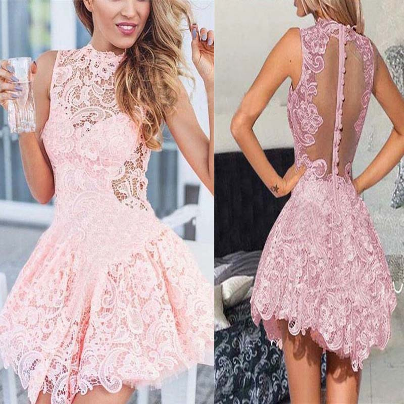 Unique High Neck Pink Lace Asymmetrical Homecoming Dress, Homecoming Dress, VB0672