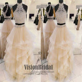 Charming Halter Lace Top Open Back Two Pieces Asymmetrical Long Prom Dress, Prom Dress, VB0511 - Visionbridal