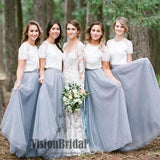 Simple Classic Lace Half Sleeves A-Line Floor Length Tulle Bridesmaid Dress, VB0395 - Visionbridal