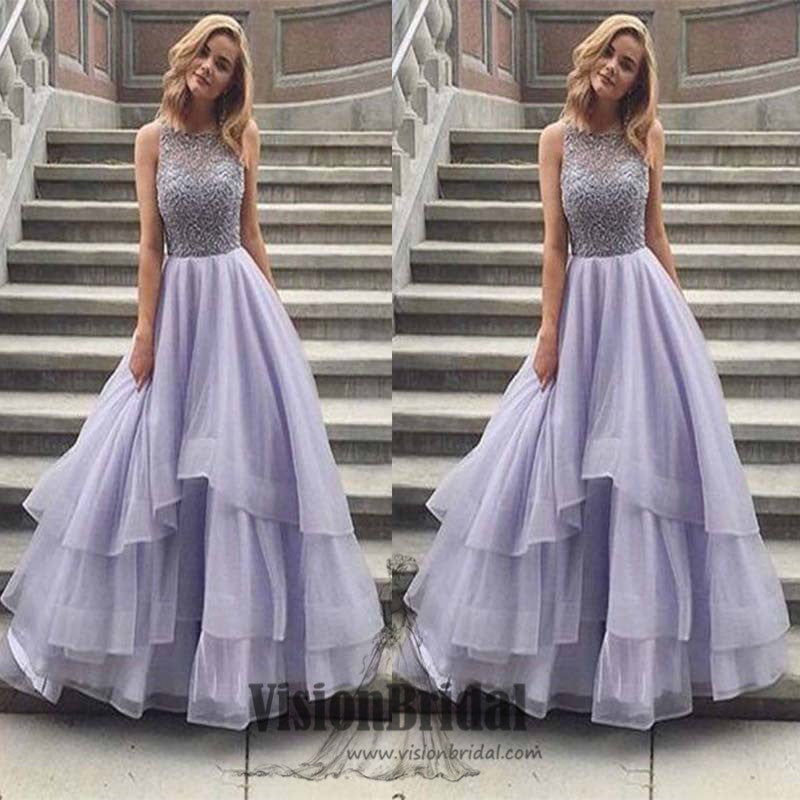 High Neck Lavender With Beaded A-Line Asymmetrical Organza Floor Length Prom Dress, Prom Dresses, VB0383 - Visionbridal