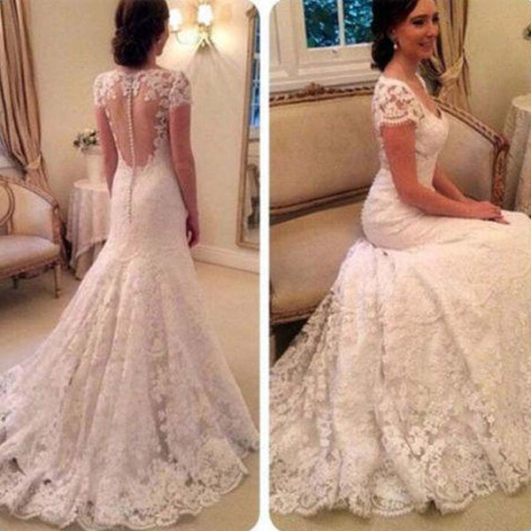 Charming Cap Sleeve Covered Buttons Mermaid Lace Wedding Dresses