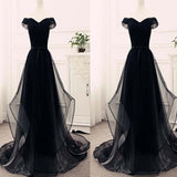 Black Off The Shoulder Lace Up Floor Length Prom Dress, Cheap Prom Dress, Prom Dresses, VB0290 - Visionbridal