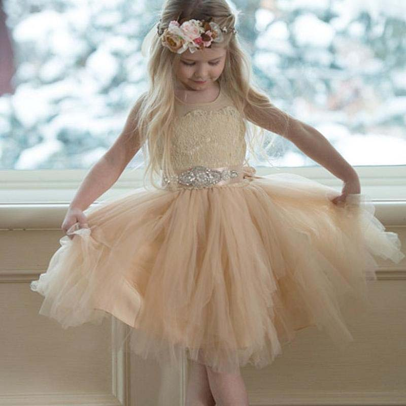 Illusion Lace Top Covered Button Tulle Flower Girl Dresses, Popular Little Girl Dresses With Rhinestone Belt, Lovely Flower Girl Dresses, VB0994