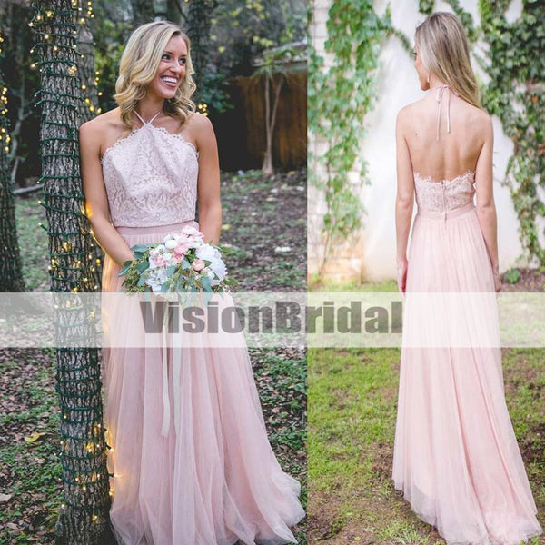 Beautiful Pink Halter Lace Top Open Back Floor-Length A-Line Tulle Bridesmaid Dresses, Bridesmaid Dresses, VB0947